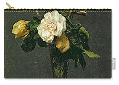 Roses In A Champagne Flute Carry-all Pouch by Ignace Henri Jean Fantin-Latour