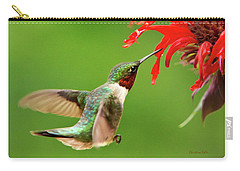 Ruby-throated Hummingbird With Red Flowers Carry-all Pouch by Christina Rollo
