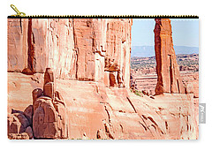 Carry-all Pouch featuring the photograph Sandstone Butte And Canyon Floor, Arches National Park, Moab, Ut by A Gurmankin