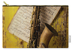 Saxophone Hanging On Old Wall Carry-all Pouch by Garry Gay