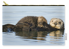 Sea Otter Mother And Pup Elkhorn Slough Carry-all Pouch by Sebastian Kennerknecht