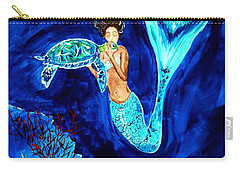 Sea Turtle Kiss Carry-all Pouch by Leslie Allen