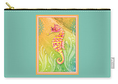Seahorse Pink Carry-all Pouch by Amy Kirkpatrick