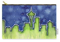 Seattle Night Sky Watercolor Carry-all Pouch by Olga Shvartsur