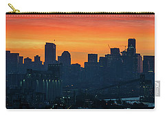 Seattle Skyline Skies On Fire Carry-all Pouch by Mike Reid