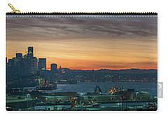 Seattle Skyline Sunrise Pano With A Lenticular Cloud On Rainier Carry-all Pouch by Mike Reid