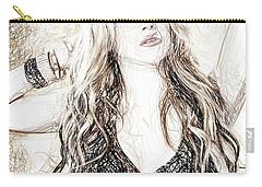 Shakira - Pencil Art Carry-all Pouch by Raina Shah
