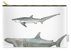 Sharks In The Deep Ocean Carry-all Pouch by Juan Bosco