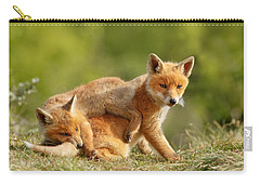 Sibbling Love - Playing Fox Cubs Carry-all Pouch by Roeselien Raimond