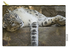 Snow Leopard Nap Carry-all Pouch by Mike  Dawson