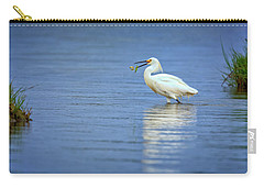 Snowy Egret At Dinner Carry-all Pouch by Rick Berk