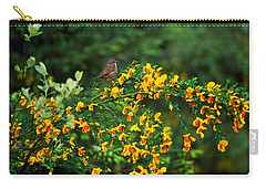 Song Sparrow Bird On Blooming Scotch Carry-all Pouch by Panoramic Images