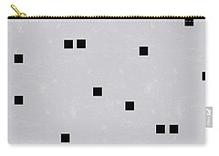 Sophisticated Decor Pattern, Black Square Confetti, Grey Linen Texture Carry-all Pouch by Tina Lavoie
