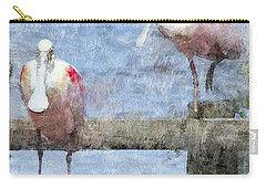 Spoonbills Hanging Out Carry-all Pouch by Betty LaRue