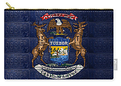 State Of Michigan Flag Recycled Vintage License Plate Art Version 1 Carry-all Pouch by Design Turnpike
