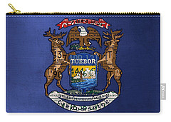 State Of Michigan Flag Recycled Vintage License Plate Art Version 2 Carry-all Pouch by Design Turnpike