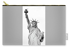 Statue Of Liberty, Black And White Carry-all Pouch by Sandy Taylor