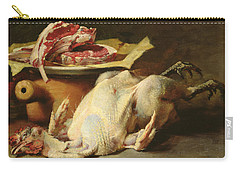 Still Life Of A Chicken And Cutlets Carry-all Pouch by Guillaume Romain Fouace