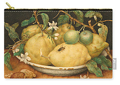 Still Life With A Bowl Of Citrons Carry-all Pouch by Giovanna Garzoni