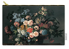 Still Life With Basket Of Flowers Carry-all Pouch by Jean-Baptiste Monnoyer