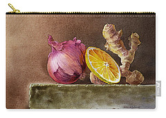 Still Life With Onion Lemon And Ginger Carry-all Pouch by Irina Sztukowski