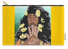 Sunflowers And Dashiki Carry-all Pouch by Alisha Lewis