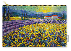 Sunflowers And Lavender Field - The Colors Of Provence Carry-all Pouch by Mona Edulesco