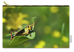 Green Grasshopper Carry-all Pouch by Christina Rollo