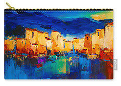 Sunset Over The Village Carry-all Pouch by Elise Palmigiani