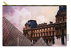 Surreal Louvre Museum Pyramid Watercolor Paintings - Paris Louvre Museum Art Carry-all Pouch by Kathy Fornal