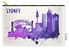 Sydney Skyline Watercolor Poster - Cityscape Painting Artwork Carry-all Pouch by Beautify My Walls