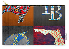Tampa Bay Sports Fan Recycled Vintage Florida License Plate Art Bucs Rays Lightning Plus State Map Carry-all Pouch by Design Turnpike