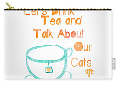 Tea And Cats Square Carry-all Pouch by Linda Woods