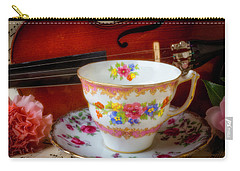 Tea Cup And Violin Carry-all Pouch by Garry Gay