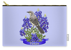 Texas State Mockingbird And Bluebonnet Flower Carry-all Pouch by Crista Forest