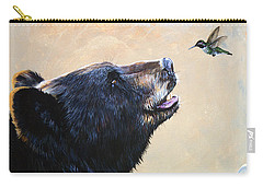 The Bear And The Hummingbird Carry-all Pouch by J W Baker
