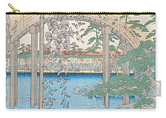 The Bridge With Wisteria Carry-all Pouch by Hiroshige