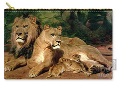 The Lions At Home Carry-all Pouch by Rosa Bonheur