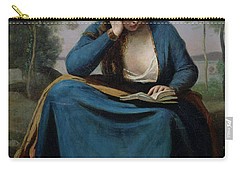 The Reader Crowned With Flowers Carry-all Pouch by Jean Baptiste Camille Corot