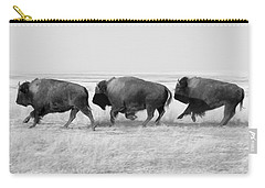 Three Buffalo In Black And White Carry-all Pouch by Todd Klassy