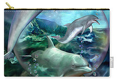 Three Dolphins Carry-all Pouch by Carol Cavalaris