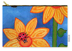 Three Ladybugs And Butterfly Carry-all Pouch by Genevieve Esson