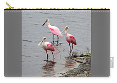 Three Roseate Spoonbills Square Carry-all Pouch by Carol Groenen