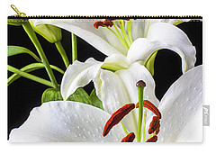 Three White Lilies Carry-all Pouch by Garry Gay