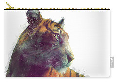 Tiger // Solace - White Background Carry-all Pouch by Amy Hamilton