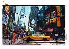Times Square Taxi- Art By Linda Woods Carry-all Pouch by Linda Woods