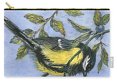 Tit In Blackthorn And Sloe Carry-all Pouch by Nell Hill
