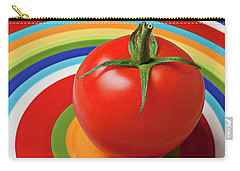 Tomato On Plate With Circles Carry-all Pouch by Garry Gay