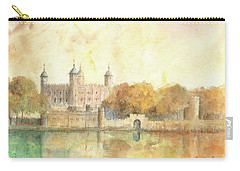 Tower Of London Watercolor Carry-all Pouch by Juan Bosco