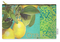 Tuscan Lemon Tree - Citrus Limonum Damask Carry-all Pouch by Audrey Jeanne Roberts